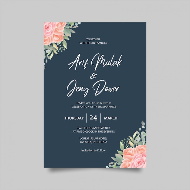 Wedding invitation card template decoration watercolor roses and blue color Premium Psd