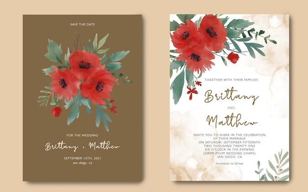 아름 다운 수채화 꽃 부케와 결혼식 초대 카드 템플릿 프리미엄 PSD 파일