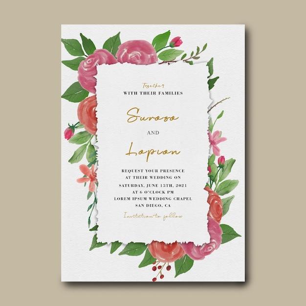수채화 꽃 장식 결혼식 초대 카드 템플릿 프리미엄 PSD 파일