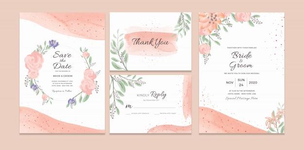 Шаблон свадебного приглашения с акварельными цветочными украшениями Premium Psd