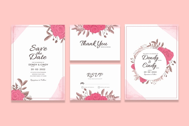 수채화 꽃 프레임 장식 결혼식 초대 카드 템플릿 프리미엄 PSD 파일