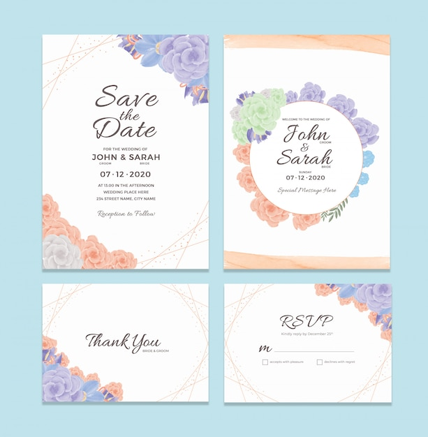 Wedding invitation card template with watercolor floral frame decorations Premium Psd