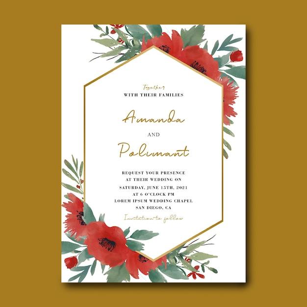 수채화 꽃 꽃다발과 골드 프레임 결혼식 초대 카드 템플릿 프리미엄 PSD 파일