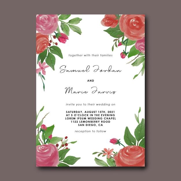 수채화 꽃 꽃다발 장식 결혼식 초대 카드 템플릿 프리미엄 PSD 파일