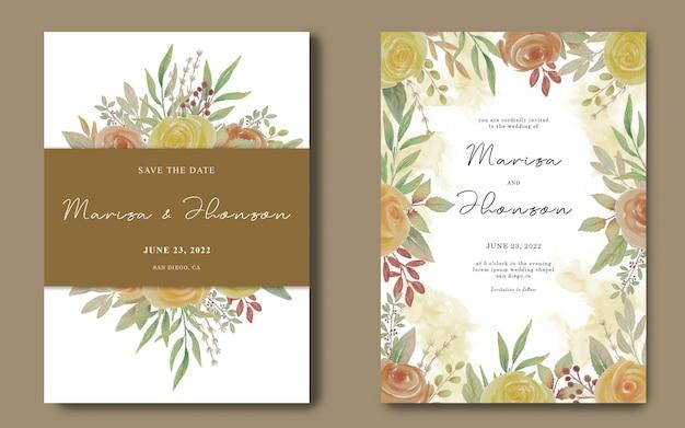 수채화 꽃 꽃다발 프레임 결혼식 초대 카드 템플릿 프리미엄 PSD 파일