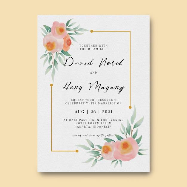 Шаблон свадебного приглашения с акварельной цветочной отделкой и золотой рамкой Premium Psd