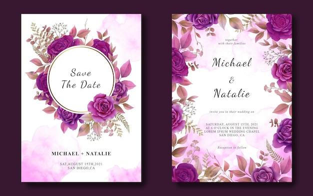 수채화 보라색 장미와 결혼식 초대 카드 템플릿 프리미엄 PSD 파일