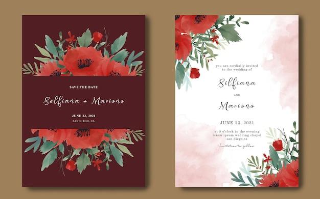 수채화 붉은 꽃 부케와 결혼식 초대 카드 템플릿 프리미엄 PSD 파일