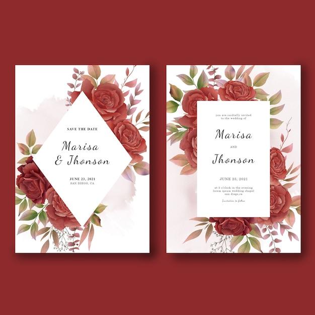 Шаблоны свадебных приглашений с акварельными розами Premium Psd