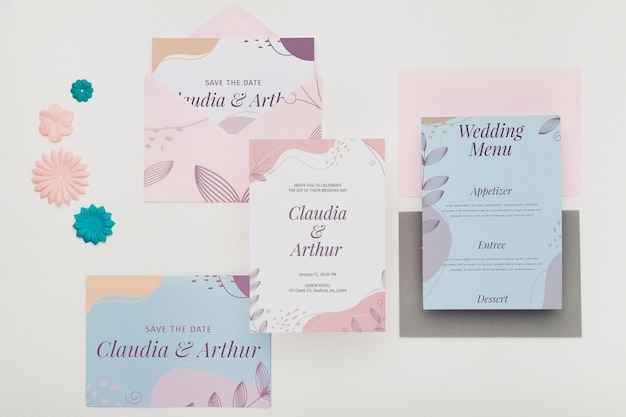 Wedding invitation concept mock-up Free Psd