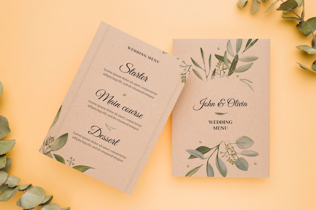 Wedding invitation concept mock-up Free Psd