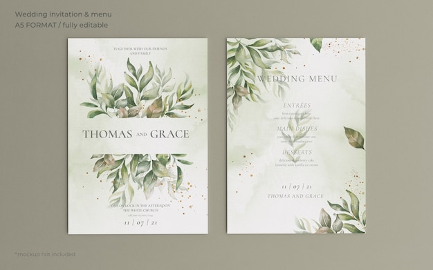 Invito a nozze e modello di menu con belle foglie Psd Gratuite