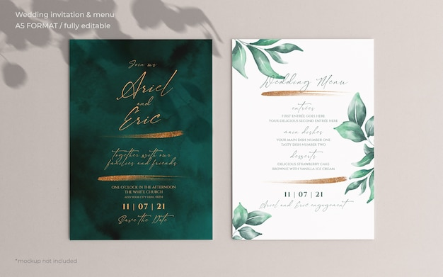 Wedding invitation and menu template with beautiful leaves Free Psd