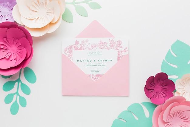 종이 꽃 결혼 초대장 모형 무료 PSD 파일