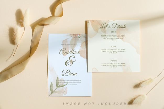 Wedding invitation mockup card with dry flower Premium Psd
