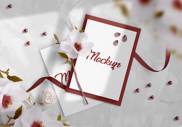 Wedding invitation mockup Premium Psd