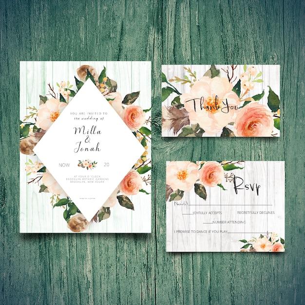 Wedding invitation rsvp card  and thank you card Premium Psd