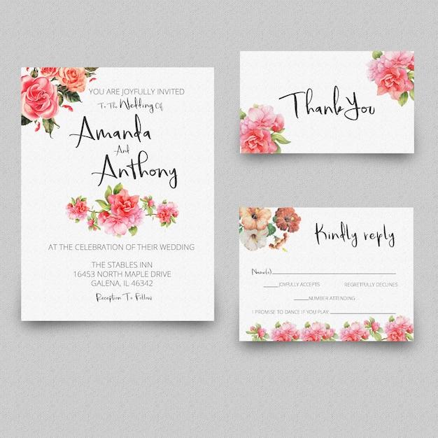 Wedding invitation rsvp card thank you card Premium Psd