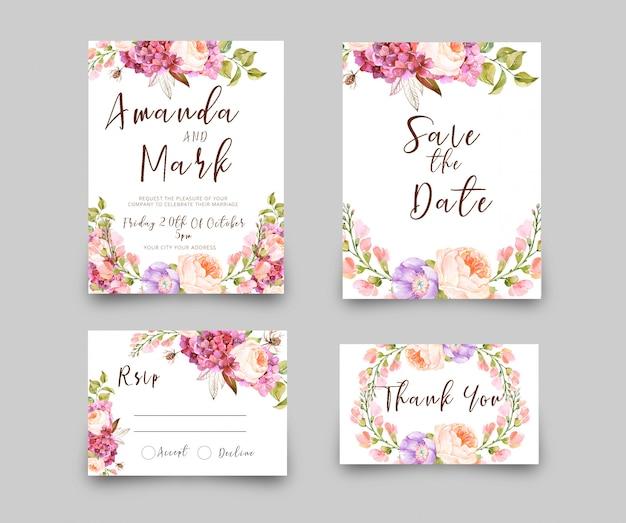 Wedding invitation rsvp card watercolor style Premium Psd