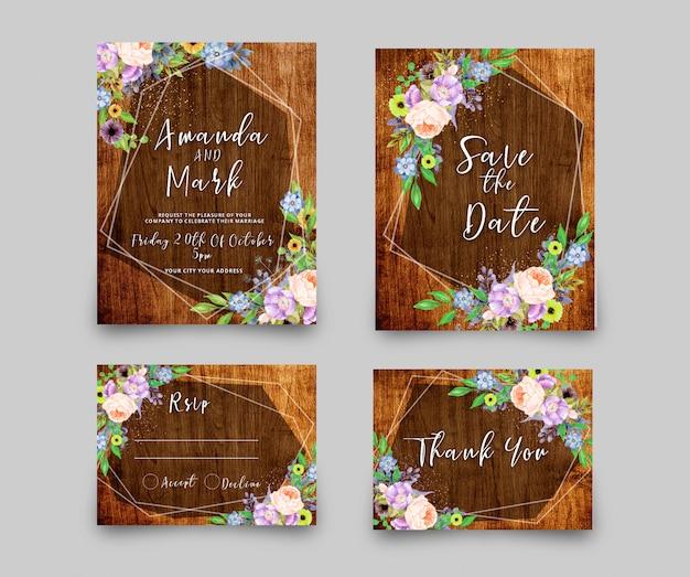 Wedding invitation rsvp card Premium Psd