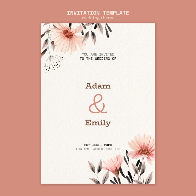 Wedding invitation template concept Free Psd
