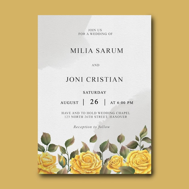 Wedding invitation template with a bouquet of watercolor roses Premium Psd