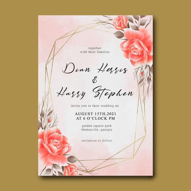 Wedding invitation template with flower bouquet decoration Premium Psd