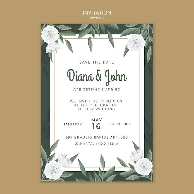 꽃 결혼식 초대장 서식 파일 무료 PSD 파일