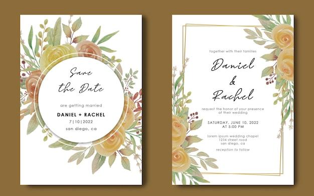 기하학적 구조와 수채화 꽃 꽃다발 결혼식 초대장 서식 파일 프리미엄 PSD 파일