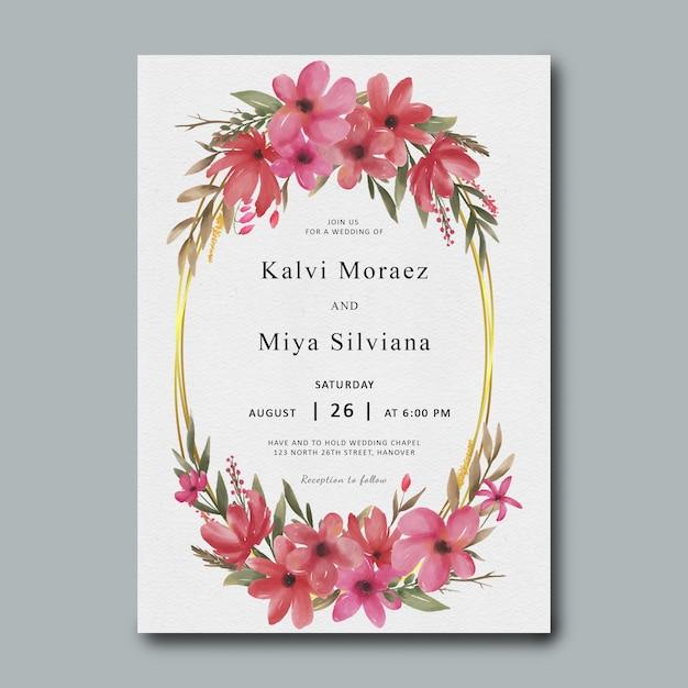 Шаблон свадебного приглашения с золотой рамкой и акварельными цветами Premium Psd
