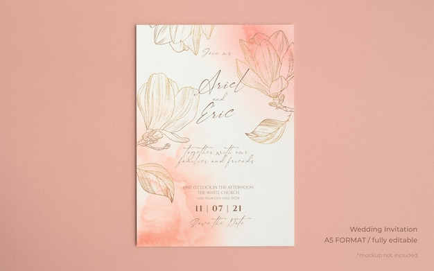Wedding invitation template with golden magnolias Free Psd