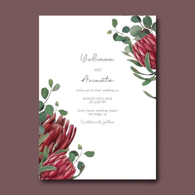 손으로 그린 꽃 결혼식 초대장 서식 파일 프리미엄 PSD 파일