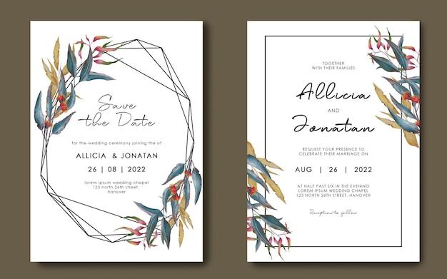 손으로 그린 기하학적 리프 프레임 결혼식 초대장 서식 파일 프리미엄 PSD 파일