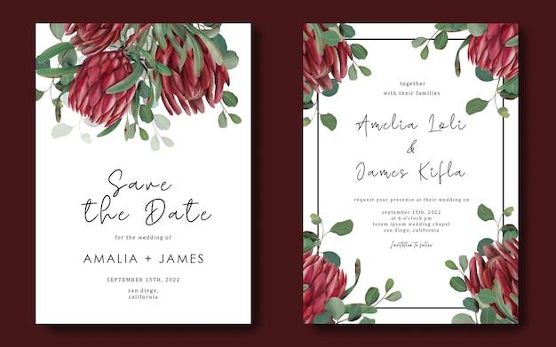 손으로 그린 된 Protea 꽃 프레임 결혼식 초대장 서식 파일 프리미엄 PSD 파일