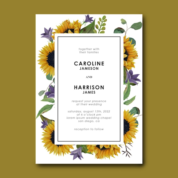 Шаблон свадебного приглашения с рисованной подсолнечником и листьями эвкалипта Premium Psd