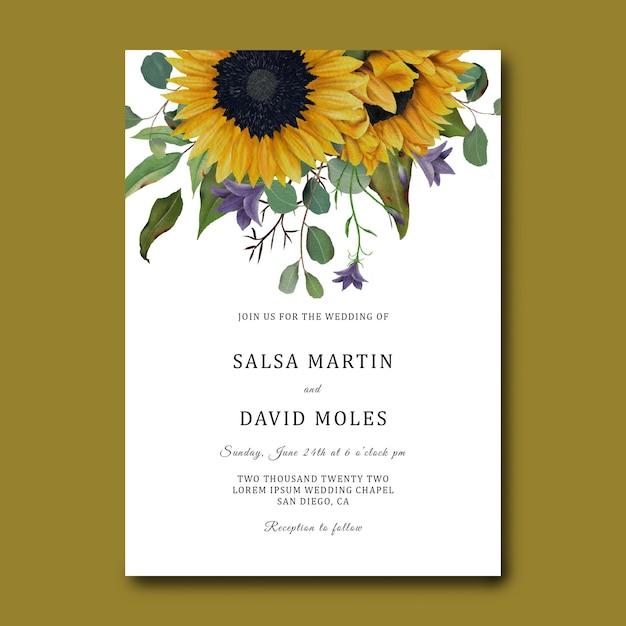 Шаблон свадебного приглашения с рисованной рамкой подсолнуха и листьями эвкалипта Premium Psd