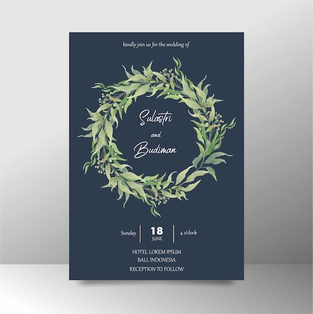 Шаблон свадебного приглашения с темно-синими акварельными листьями Premium Psd
