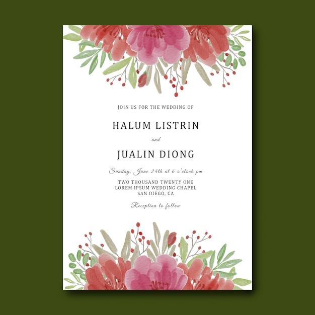 Шаблон свадебного приглашения с акварельным цветочным букетом Premium Psd