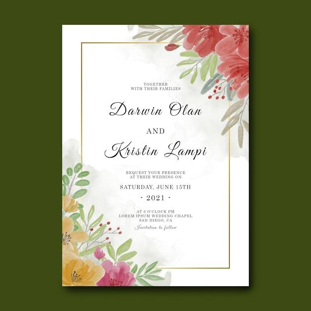 Шаблон свадебного приглашения с акварельной цветочной рамкой Premium Psd