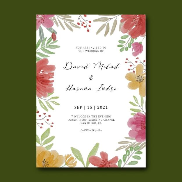 Шаблон свадебного приглашения с акварельными цветами Premium Psd