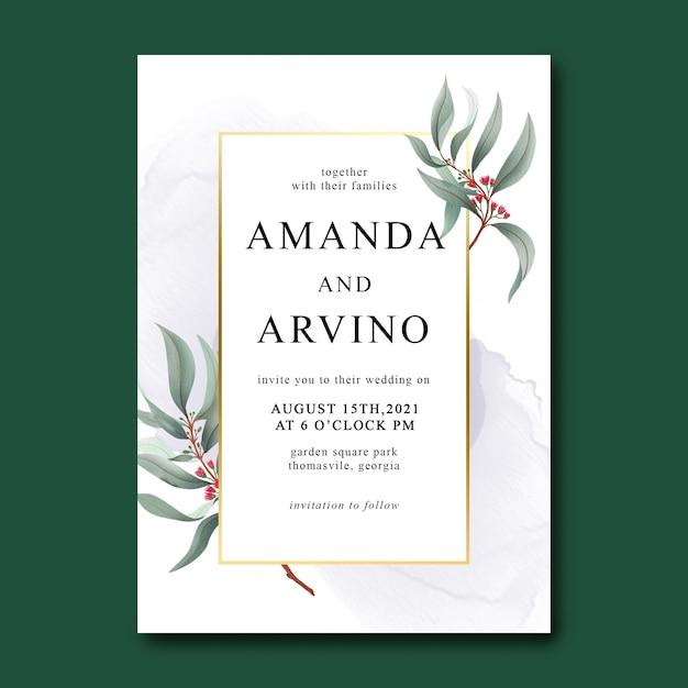Шаблон свадебного приглашения с акварельными листьями и золотой каймой Premium Psd