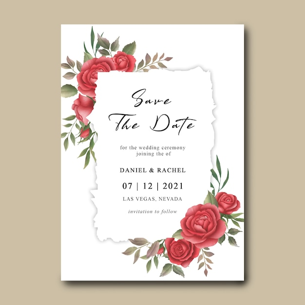 Wedding invitation template with watercolor red rose flower bouquet frame Premium Psd