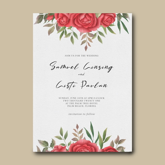 Wedding invitation template with watercolor red rose flower frame Premium Psd