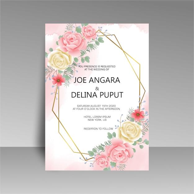 Шаблон свадебного приглашения с акварельными розами Premium Psd