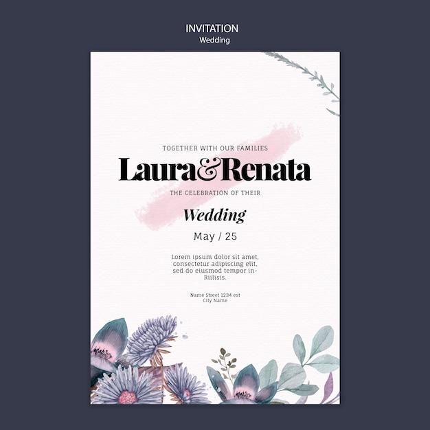 結婚式の招待状のテンプレート 無料 Psd