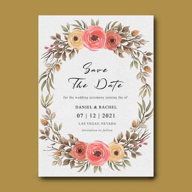 Premium Psd Wedding Invitation Templates With Flower Frames And Watercolor Leaves