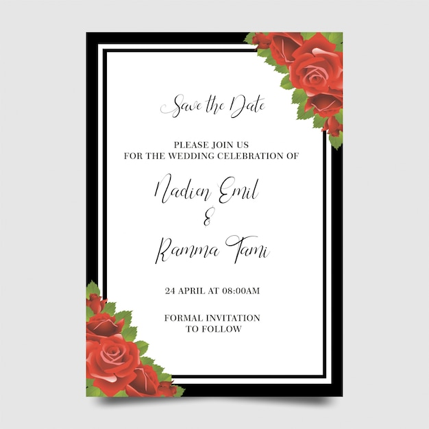 Wedding invitation templates with flower frames Premium Psd