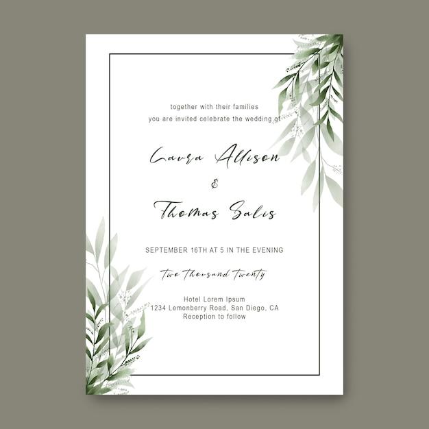 Шаблоны свадебных приглашений с акварельными листиками Premium Psd
