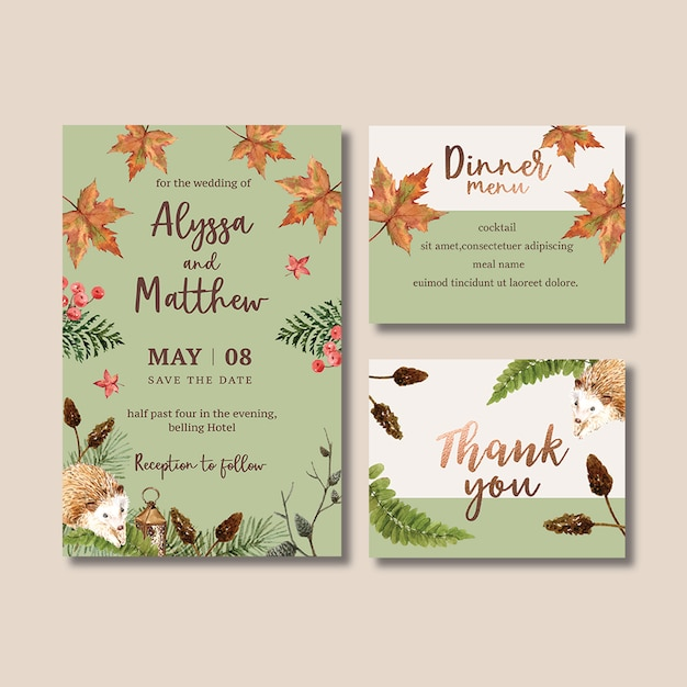 Wedding invitation watercolour with pastel autumn theme Free Psd
