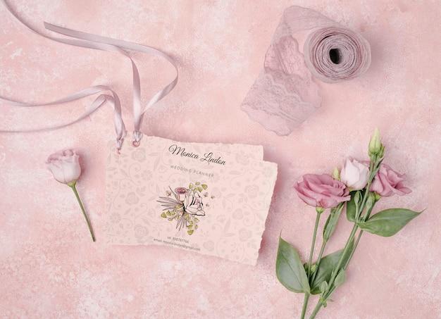 Wedding invitation with beautiful flowers Free Psd